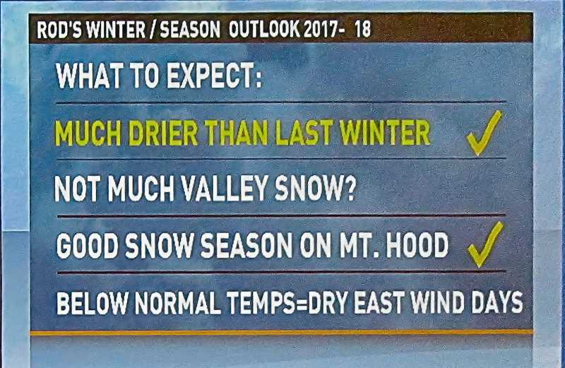 ERIC NORBERG - Rod Hill surprised the AMS conference with a widely different winter forecast for Portland than any of the other presenters, with cold periods but little if any snow; and for the winter and for the whole year, much less rain than last year – and much less than usual, here, too.