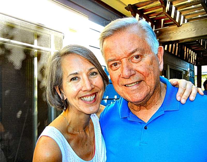 ELIZABETH USSHER GROFF - Ex-Mayor and Mayoress: Tom Potter and Karin Hansen hosted their fifth annual summer potluck at their Woodstock home and backyard in August, at which this photo was taken.