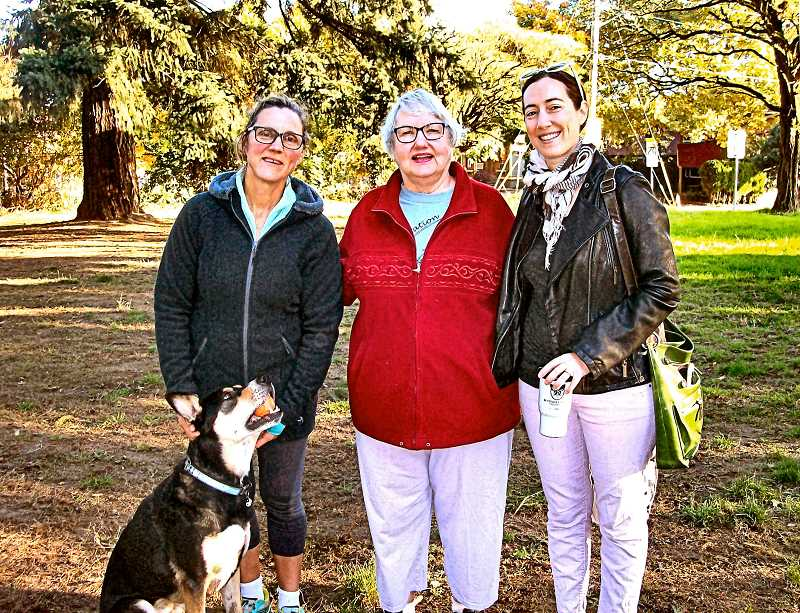 RITA A. LEONARD - These women met with THE BEE to discuss their hopes for Moreland Woods. From left: Ann Scott, with dog Radar; Corrine Stefanick; and Elizabeth Milner.