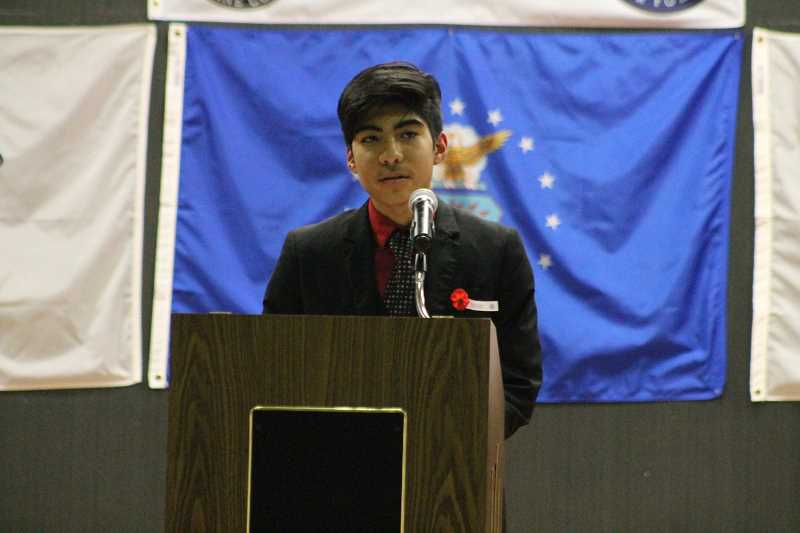 PIONEER PHOTO: CONNER WILLIAMS - Tony Morfin was one of several middle school students who shared speeches, stories and poems at the annual Veterans Day Program at MRMS on Nov. 8. Other student speakers were Taunie Davis-Lamb, Caden Raihala, Olivia Lewis, McKenna Salvetti, Mckenzie Conkley, Chloe Norgren, Kaden Gobet and Brynn Manselle.