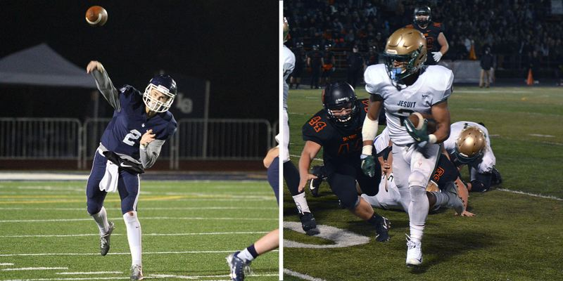 PAMPLIN MEDIA GROUP PHOTOS - Lake Oswego quarterback Jake Dukart (left) and Jesuit running back Trey Lowe lead their teams into the Class 6A state quarterfinals when the top-ranked Lakers host the No. 9 Crusaders at 7 p.m. Friday night.