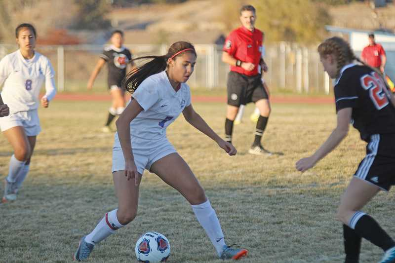 WILL DENNER/MADRAS PIONEER - Junior Erika Olivera was named to the Tri-Valley Conference all-league first team after leading the Buffs in scoring during the 2017 season, also proving to be a versatile playmaker from her midfield position.