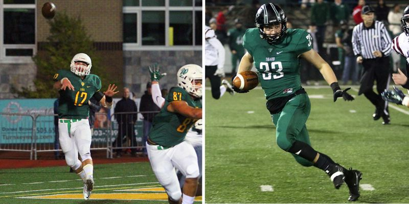 PAMPLIN MEDIA GROUP PHOTOS - West Linn quarterback Ethan Long (left) and Tigard's Kyle Bay lead their teams into the Class 6A state quarterfinals at 7 p.m. Friday at West Linn High School.