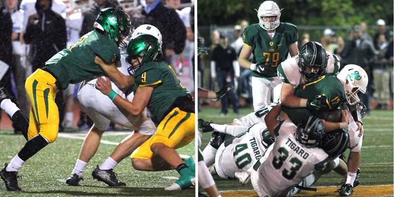 PAMPLIN MEDIA GROUP PHOTOS - The West Linn (left) and Tigard defenses will return to vie for supremacy during the Class 6A state quarterfinals at 7 p.m. Friday at West Linn High School.