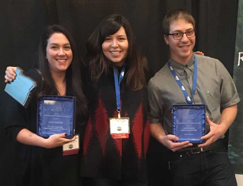 SUBMITTED PHOTO - Parks & Rec staffers Cydney Fletcher (from left), Jamie Inglis and Kyle Bateman show off their individual and department awards at the Oregon Parks and Recreation Association convention this week in Bend.