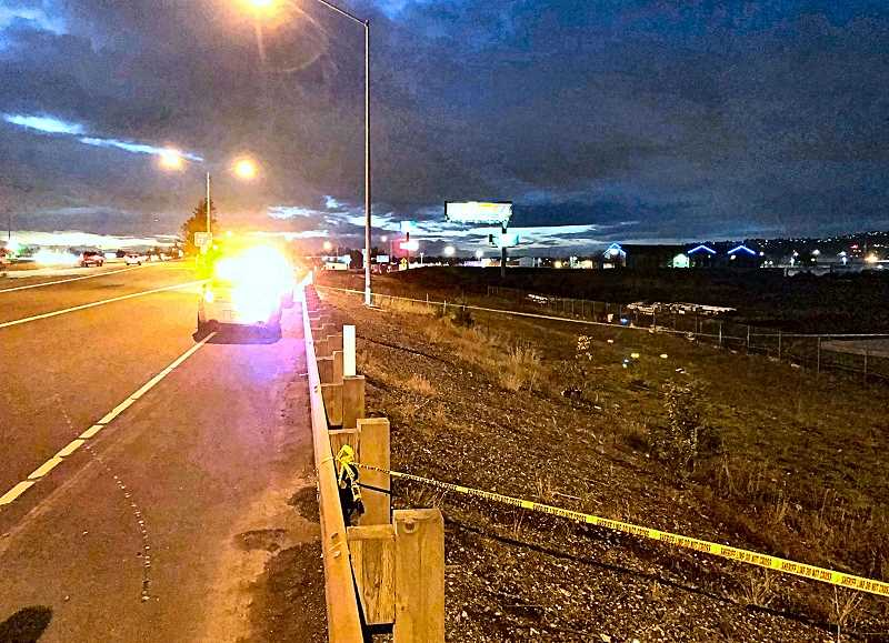 MULTNOMAH COUNTY SHERIFF'S OFFICE - This photograph, looking east, shows the crime scene of the found body just south of Interstate 84, near Troutdale.