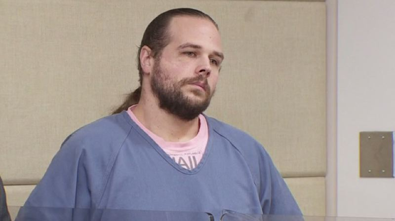 PHOTO BY: KOIN 6 NEWS - Accused MAX killer Jeremy Christian during a court appearance in Multnomah County on Oct. 20.