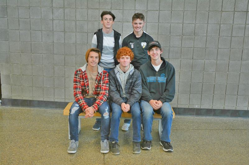 SPOTLIGHT PHOTO: JAKE MCNEAL - BOYS' SOCCER: Back row, from left, honorable mentions DJ Backus and Corbin Edson. Front row, from left: All-leaguers Austin Schwalge, Caden Verzino and Robby Walsh.