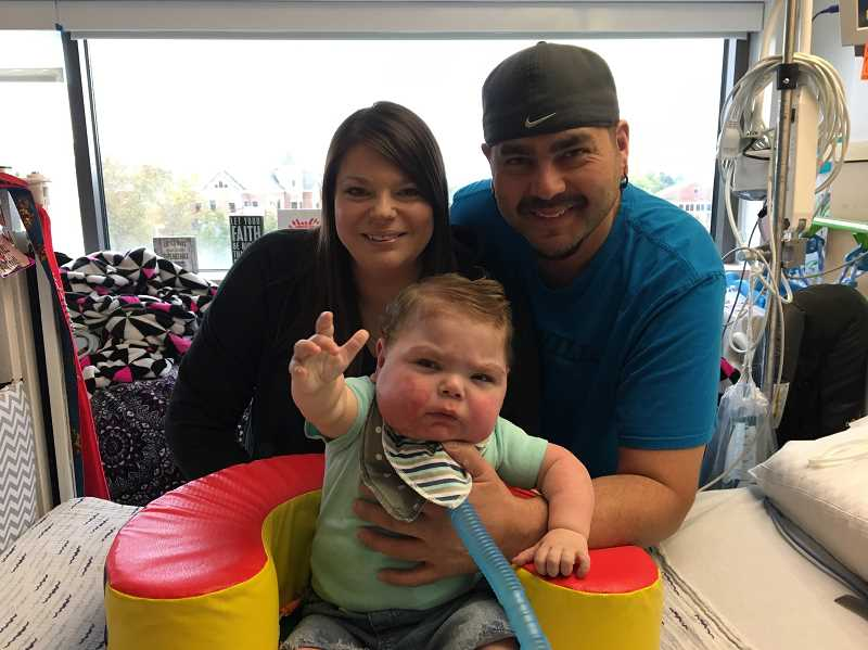 COURTESY OF TARA OUELLETTE-STONE - After spending more than 1 1/2 years in a neonatal intensive care unit in Ohio, Ashton Stone is back in the Pacific Northwest.