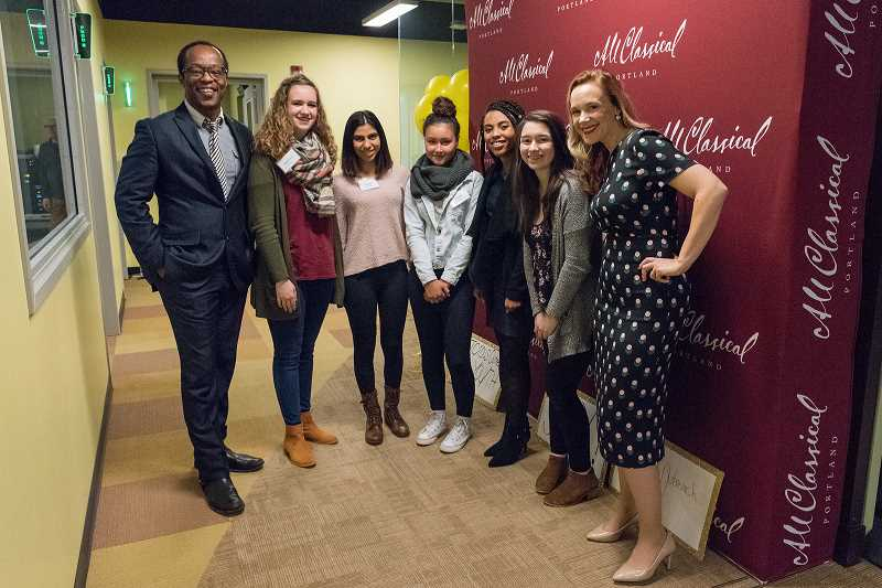 SUBMITTED PHOTO: ALL CLASSICAL PORTLAND - Interim CEO Suzanne Nance and Actor Vin Shambry gather around All Classical Portlands new Youth Roving Reporters. FROM LEFT: Vin Shambry, Madeline Wiggins, Aashna MacLennan, Emma Clark, Shania Watts, Sophia Suhler, Suzanne Nance