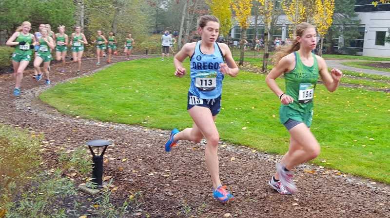PHOTO CREDIT: DEBBIE HUMPHREY - Indians senior Linnaea Kavulich, center, ran to 36th in 19 minutes, 34.54 seconds in her fourth Nike Border Clash Saturday, Nov. 18.