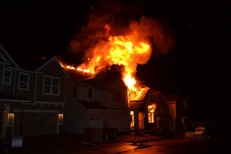 PHOTO COURTESY OF WASHINGTON COUNTY SHERIFF'S OFFICE - A fire broke out in a home under construction in the Bethany neighborhood.