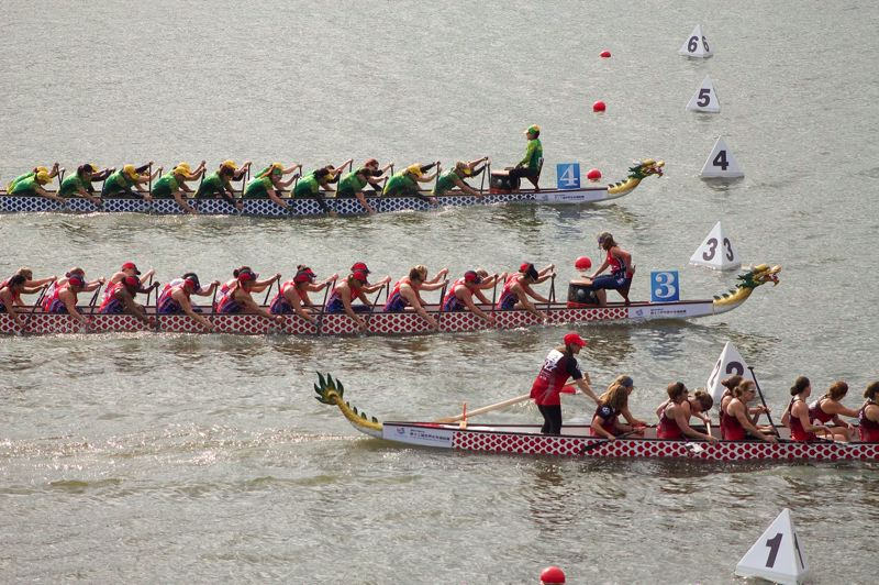 CONTRIBUTED PHOTO: ANGIE KAUTZ - Team USA, middle, was neck-in-neck with Australia for most of the races.