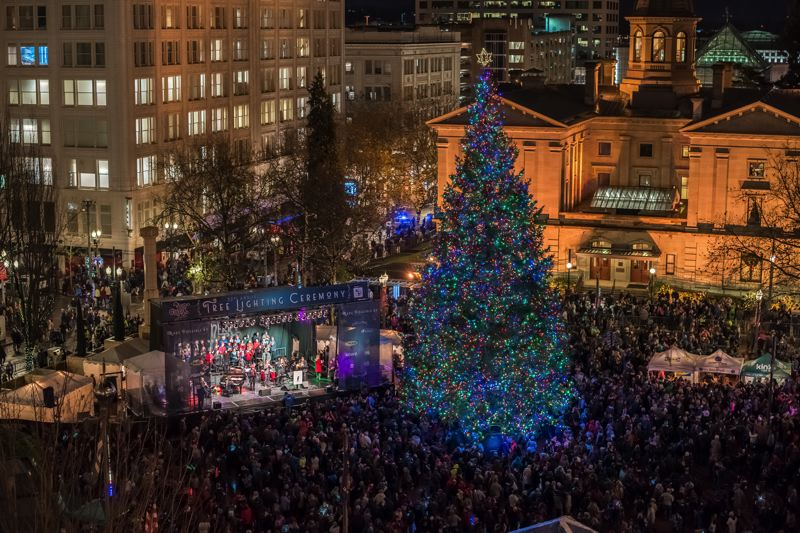 COURTESY PHOTO - A big crowd always gathers for the Tree Lighting Ceremony at Pioneer Courthouse Square. Events, exhibits and displays are a prominent part of the holiday season.