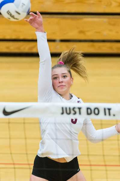 HILLSBORO TRIBUNE PHOTO: CHRISTOPHER OERTELL - Glencoe's Ash Bailey during a state tournament match earlier this season. Bailey was selected to the all-Metro League first-team.