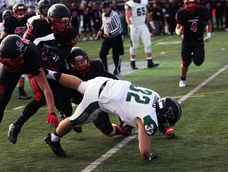 DAN BROOD - Tigard junior tight end Mitchell Cross goes to the turf after catching a six-yard pass in Friday's state playoff semifinal game.