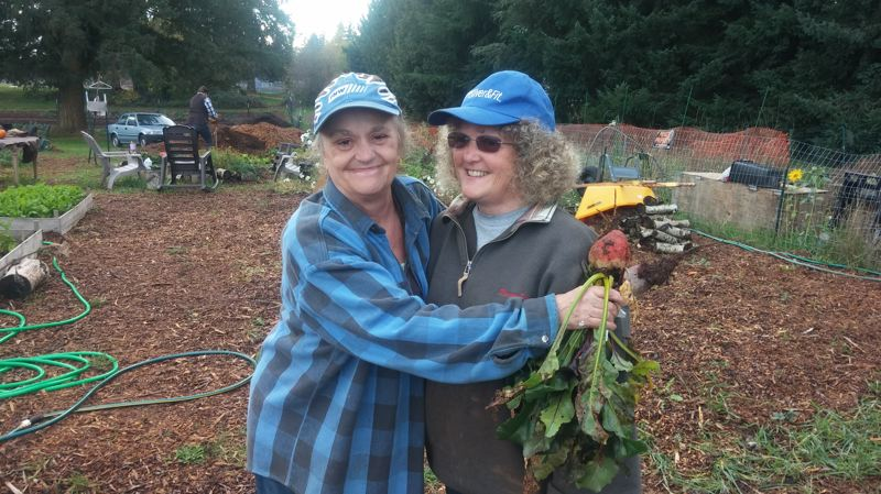 PHOTO BY: RAYMOND RENDLEMAN - Clackamas Community College gardener Gail Borchard was lucky to run into old friend Susan Ziolko who was willing to donate some of her currently reserved plot space to Borchard.