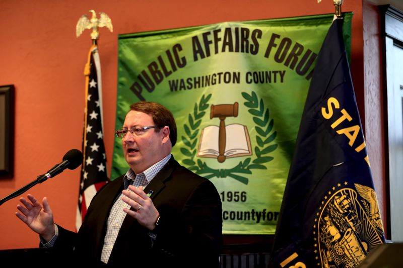 TIMES PHOTO: JAIME VALDEZ - Speaking at the Washington County Public Affairs Forum on Monday, Tigard Mayor John L. Cook described a range of issues that Tigard faces.