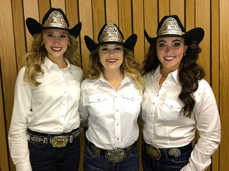 The 2018 Clackamas Fair and Canby Rodeo Court is (from left) Princess Katie Stanfield, Queen Callie Walker, and Princess Kiernan Hull.