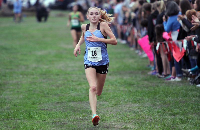 REVIEW PHOTO: MILES VANCE - Lakeridge freshman Holly Lane won a berth on the all-Three Rivers League first team after placing fourth at the 2017 TRL district meet.