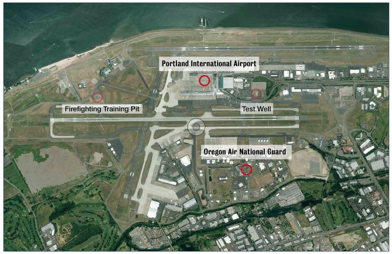 COURTESY PORT OF PORTLAND  - PFOS and PFOA, two toxic compounds, have been found within a few hundred feet of three fire training pits west of the main airport complex, as well as the Oregon Air National Guard base to the south.  A test well at the airport has showed no trace of the two compounds, so far.