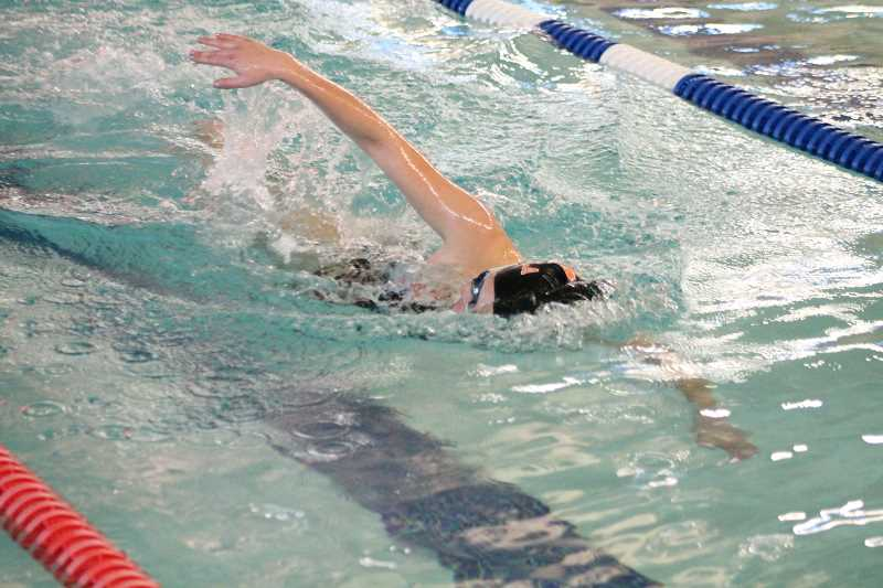 PIONEER PHOTO: CONNER WILLIAMS - Molalla junior Alisha Issa competes in the 200 Freestyle during the Indians' dual meet against Gladstone last season.