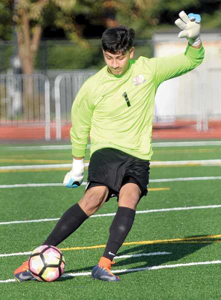 GRAPHIC FILE PHOTO - Goalie Nerick Elias was named Three Rivers League Player of the Year after leading Newberg its first-ever league title in the sport. Elias recorded three shutouts and allowed a total of six goals in seven conference games as a senior.