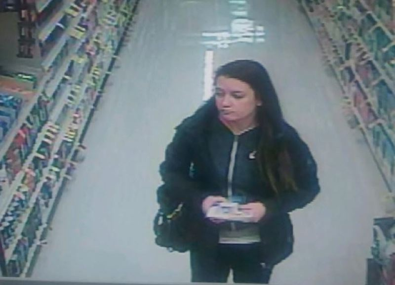 PHOTO COURTESY: OCPD - This approximately 20-year-old woman is suspected of being associated with the Nov. 23 theft of a car and credit cards from a hospital parking lot in Oregon City.