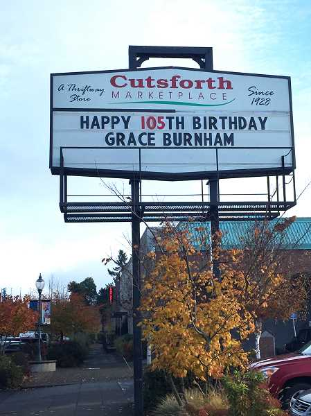 SUBMITTED BY AMY BURNHAM - Grace Burnham celebrated her 105th birthday with a party on Nov. 18.