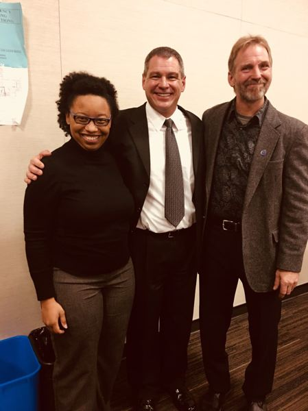 CONTRIBUTED PHOTO - Dr. Brandy Ethridge, chief of staff and legislative assistant, Rep. Jeff Helrich, and (former) Mayor of Cascade Locks and artist Brad Lorang.