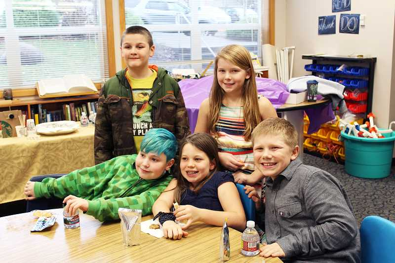 HERALD PHOTO: KRISTEN WOHLERS - The five Carus fifth grade students who ran for kid governor are from back left to right: Zac Pitkin, Ava Drazan, Korin Adams (left front), India Stults and Brady Ackerman.