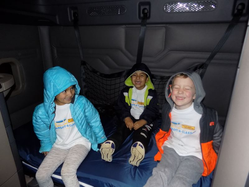 CONTRIBUTED PHOTO: HOLLYDALE ELEMENTARY SCHOOL - The students got a tour of the truck cab and couldn't believe it has a bed and a television set.