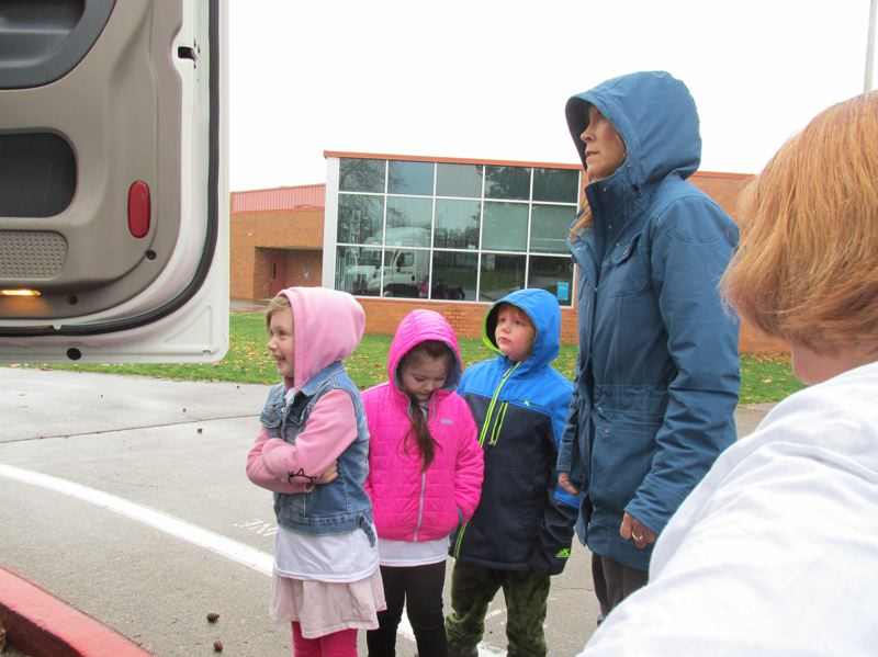 CONTRIBUTED PHOTO: HOLLYDALE ELEMENTARY SCHOOL - Kindergartners wait for their turn to tour the cab of the J.B. Hunt truck.