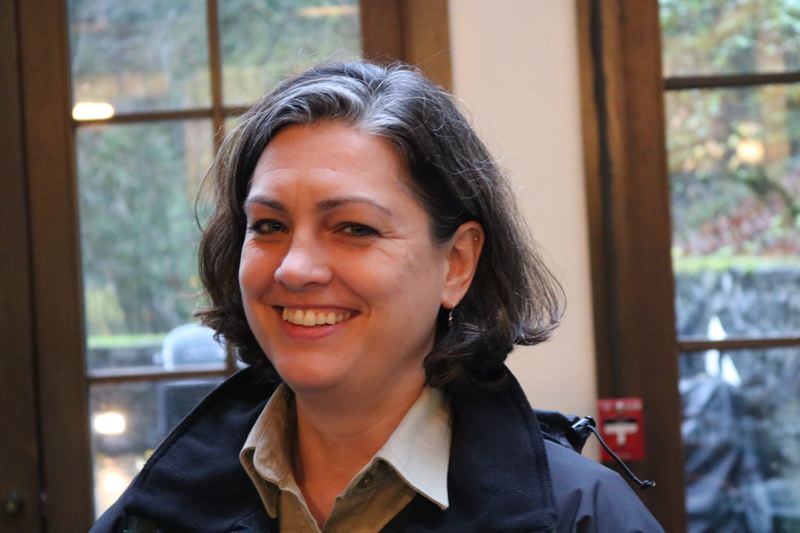 OUTLOOK PHOTO: ZANE SPARLING - U.S. Forest Service spokeswoman Rachel Pawlitz welcomed reporters back into the Multnomah Falls Lodge on Tuesday, Nov. 28.