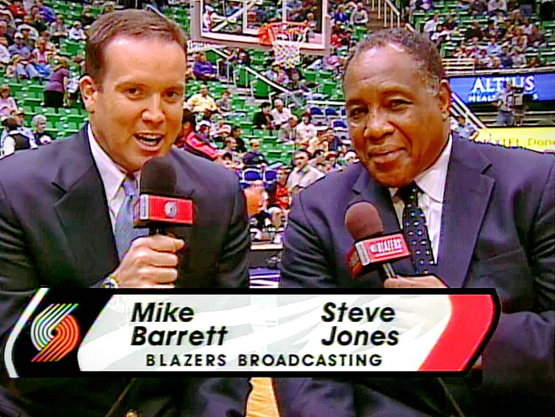 COURTESY: RICH 'THE CAPTAIN' PATTERSON - Steve Jones (right) pulled no punches as an analyst at Trail Blazers games with broadcasters/ straight men such as Mike Barrett.