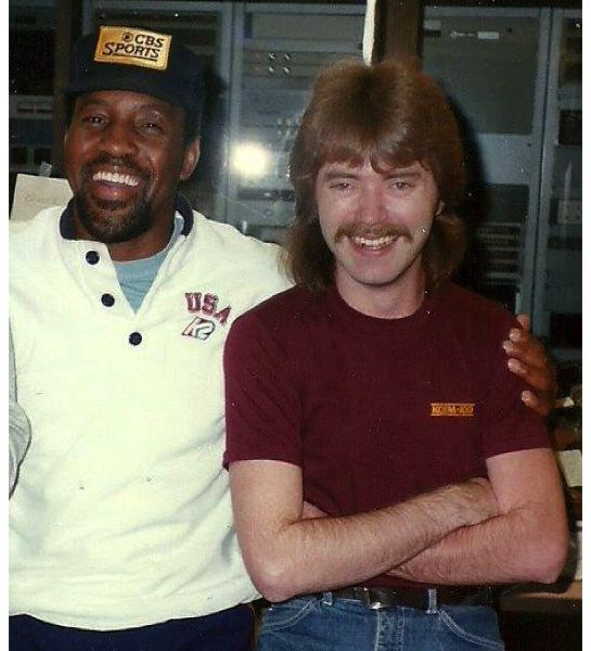 COURTESY: RICH 'THE CAPTAIN' PATTERSON - Steve Jones (left), in his early broadcasting days and with Rich Patterson, now radio network producer for Blazers Broadcasting.