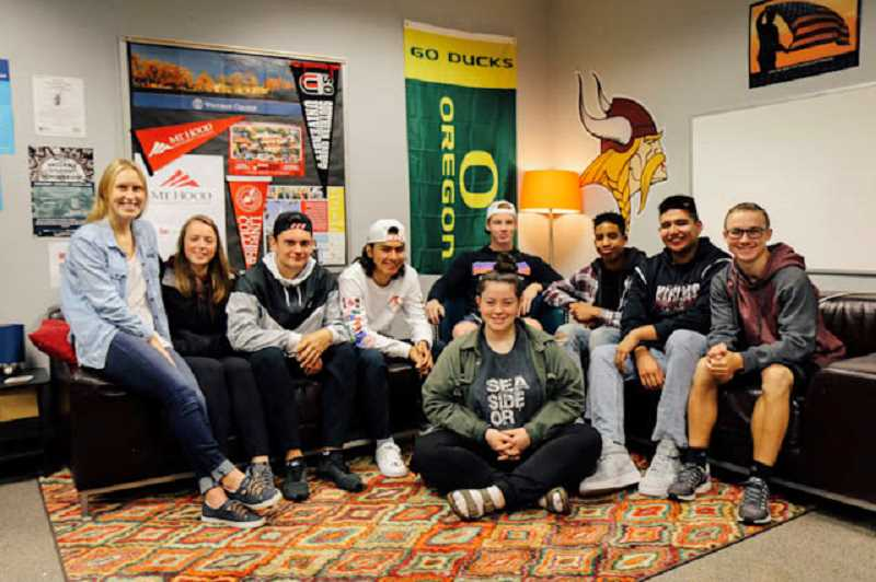 COURTESY PHOTO - A group of Forest Grove High School students recently stopped by the schools College and Career Center to learn more about post-graduation possibilities. (Back row, L-R) Katie Rebsom, Emma Calouri, Drake Littlefield, Luis Flores-Cruz, Sam Riley, Elijah Peters, Ricky Ruhl, Tanner Mannen and (front row) Ellie Brewer.