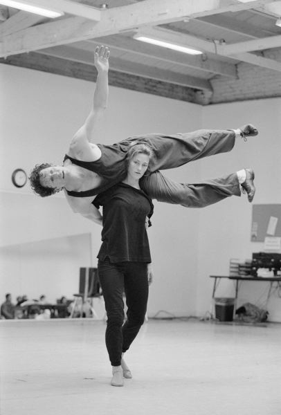 COURTESY: BLAINE TRUITT COVERT - Balancing work and marriage has been smooth, say Jamey Hampton and Ashley Roland (here practicing together in 2000).