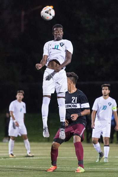 HILLSBORO TRIBUNE PHOTO: CHRISTOPHER OERTELL - Century's Khalid Aden goes up for a header in a game versus Glencoe earlier this season. Aden was an all-league selection this year.