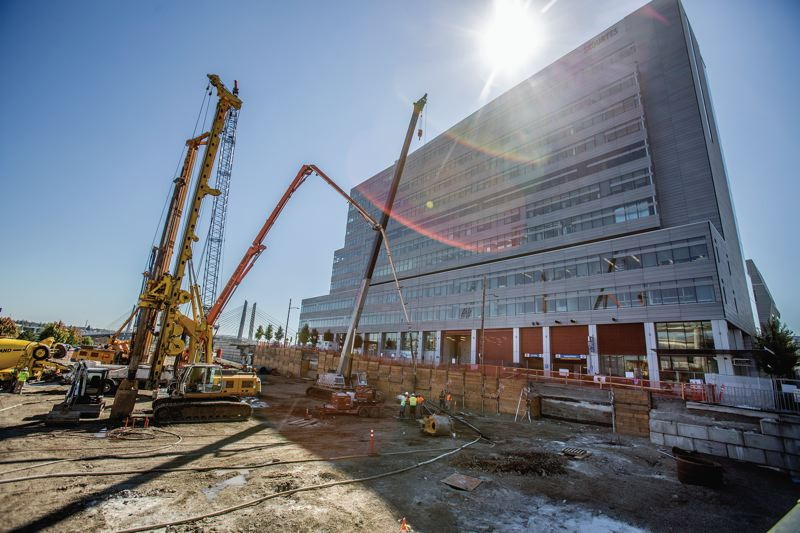 TRIBUNE PHOTO: JONATHAN HOUSE - A look at the Knight Cancer Research Buildings footprint from August 2016, that McDonald Excavating dug out.