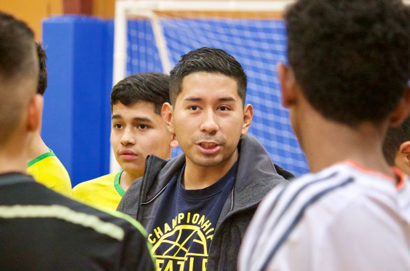 OUTLOOK PHOTO: CHRISTOPHER KEIZUR - Ricki Ruiz serves as the organizer and referee of the weekly indoor soccer tournaments.