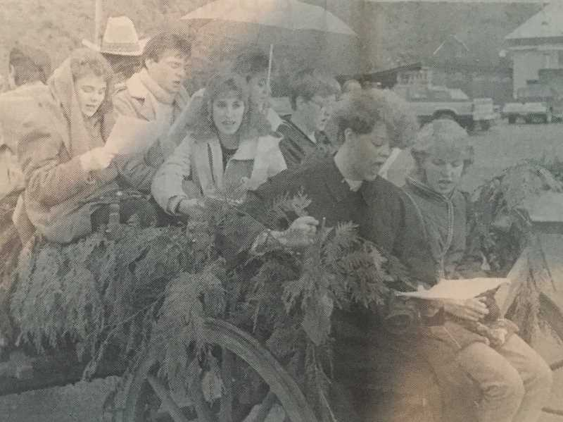 ARCHIVE PHOTO - In 1987, Estacada High School music students sang Christmas carols in the streets of downtown Estacada. They were filmed by KOIN TV for the news stations evening broadcast.