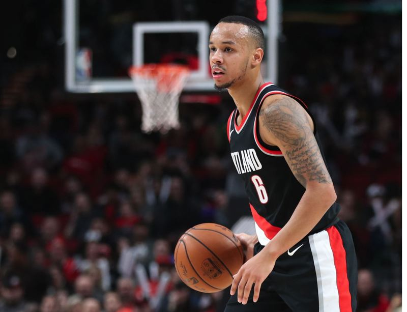 TRIBUNE PHOTO: JAIME VALDEZ - Shabazz Napier has become a key rotation player in Portland's backcourt, supplementing stars Damian Lillard and CJ McCollum.