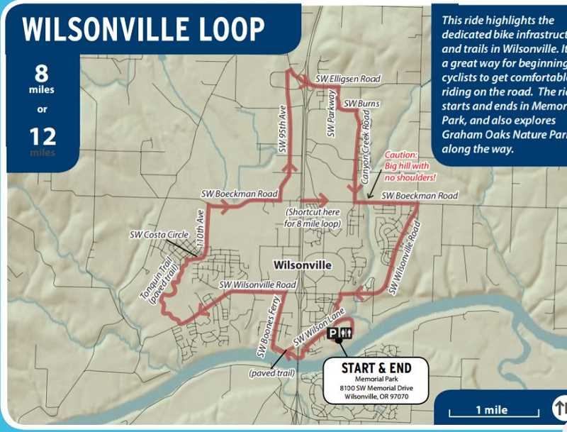 CITY OF WILSONVILLE - The maps different colors and line styles notate sidewalks, pedestrian paths, multi-use paths, bike lanes, traffic signals, uphill inclines, parks and caution indicators on street that are less bike and pedestrian friendly.