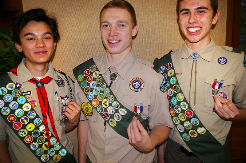 PHOTO COURTESY OF DAN CLARK - Lake Oswego High seniors Jon Meinhardt (from left), Kyle Moring and Jadon Schmidt have all earned the rank of Eagle. They are members of Boy Scout Troop 230 in Lake Oswego.