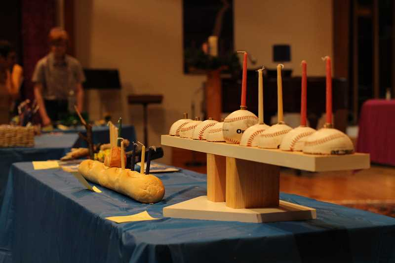 PHOTO COURTESY OF BEIT HAVERIM - At Beit Haverim's annual Hanukkah dinner, children in the congregation get a chance to show off their creative skills in a menorah-making contest. Each menorah is made using whatever materials the kids want to use.