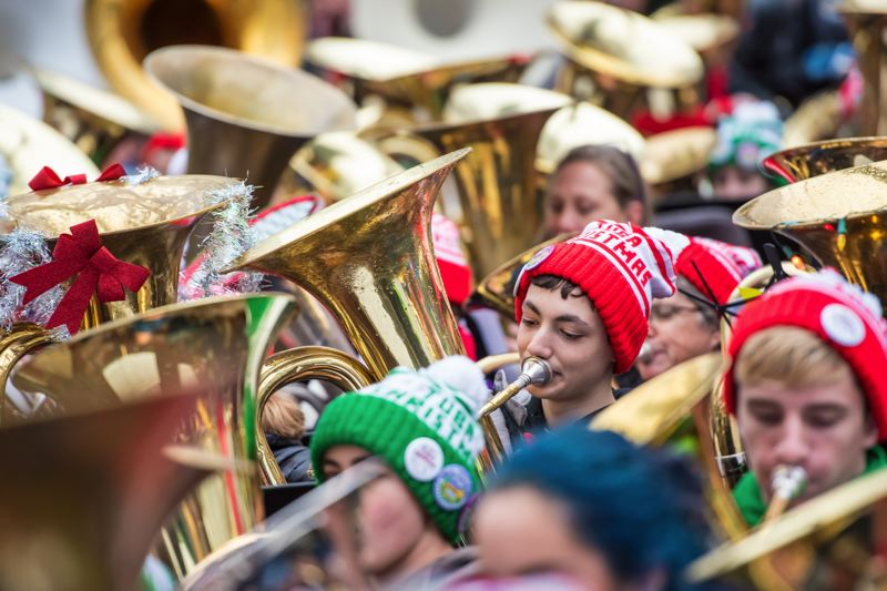 COURTESY - The sounds of tubas fill the air at Pioneer Courthouse Square, Dec. 9.