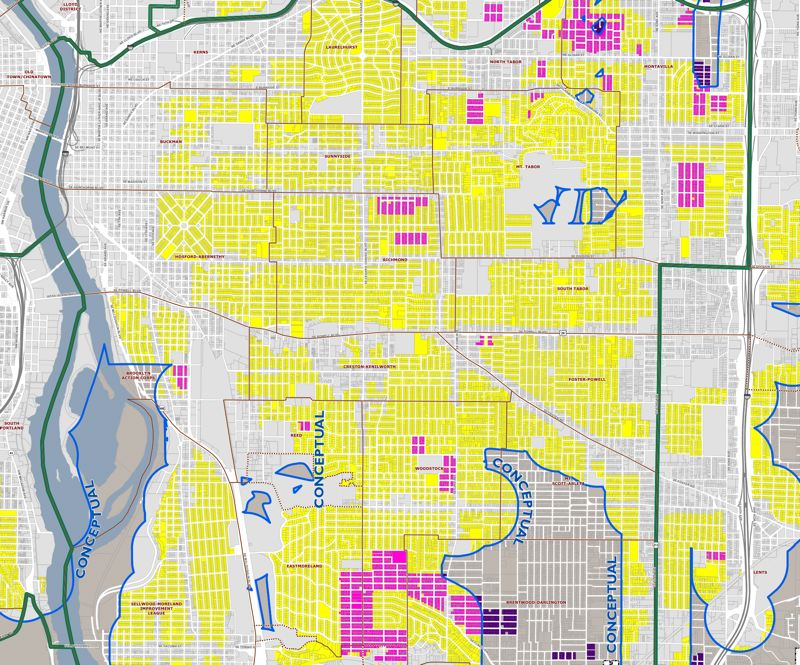 CITY OF PORTLAND - This map shows some of the single-family neighborhoods in Southeast Portland that could be rezoned for so-called missing middle housing under the current Residental Infill Project recommendations.