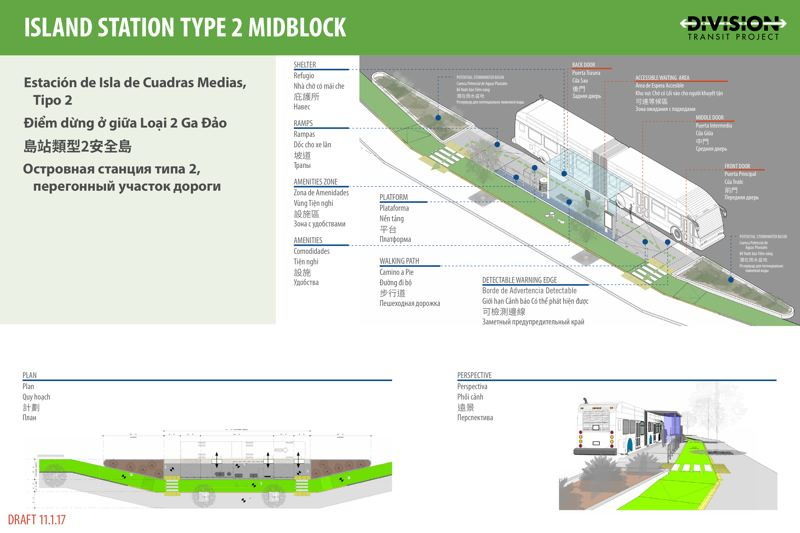 SUBMITTED: TRIMET - The island station for the Division route would allow the bike lane to cut into the sidelwalk instead of around the outside of a parked bus.  Design is not expected to be completed until the end of 2018, and there are are still doubts about federal funding for the project.