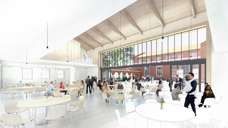 SUBMITTED: ST. MARYS CATHEDRAL, COURTESY HACKER ARCHITECTS - The renderings show an updated community hall where parishoners can celebrate after sacraments, and a welcome center with reading material for community members who wander in.